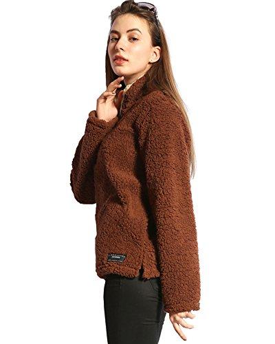 Minetom Donna Autunno Inverno Felpa Morbido Cerniera Sweatshirt Sportivo Pullover Plush Outwear Cappotto Caffè