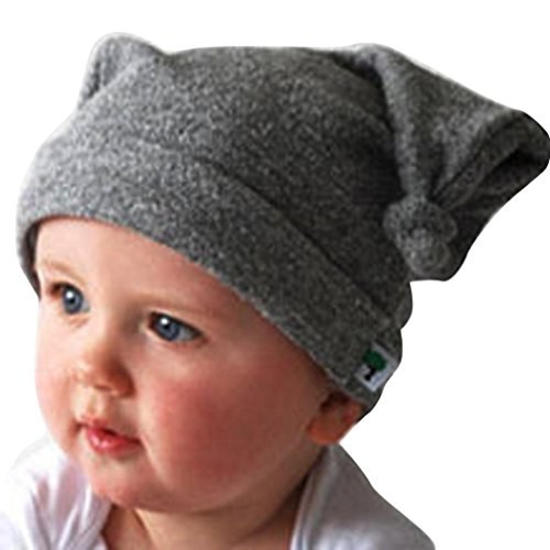 Hunpta Kind Kleinkind lange Ohren Rollkragen Cap Horn verknotet Baby Mütze Beanie Baby Mütze (Gray)