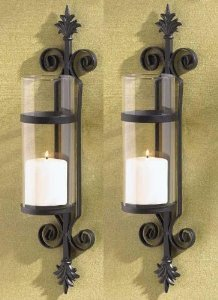 2 Black FLEUR de LIS Candle Garden Wall Hurricane SCONCES French Scroll Holder by EmpoweringStyle