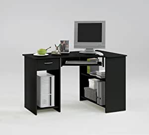 Sharpe Black Colour Wood Corner Computer Pc Work Station Table Desk With Drawer And Keyboard