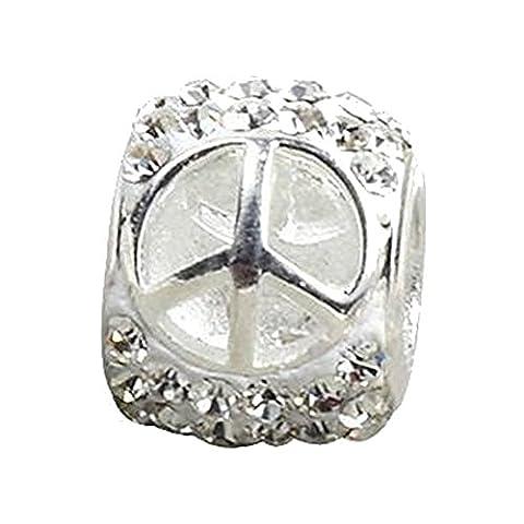 Argent sterling la paix Charme–Compatible avec Pandora, Chamilia et bracelets similaires–Tons Charms