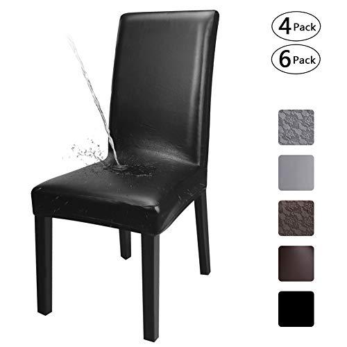 Fuloon coprisedie con schienale, protezioni per sedia in pelle elasticizzata artificiale, coprisedili universali resistenti all'olio e all'acqua(pu modello solido nero, 6 pezzi)