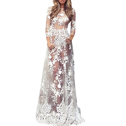 Vestido de Bikini Cover up Pareos Gasa de Encaje de Mujer, lencería Cover up Maxi Floral Transparente (Blanco, XL)