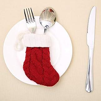 MXECO Red Sock Shape Vajilla Cuchillo Cubre Tenedor Bolsas Punto Calcetines de Navidad Calcetines Cubiertos Soporte Decoración de la Fiesta de Navidad