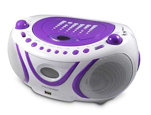 Metronic 477112 Radio / Lecteur CD / MP3 Portable Pop Purple avec Port USB - Violet