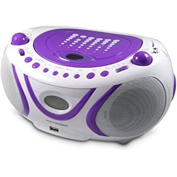 Metronic 477112 Radio/Lecteur CD/MP3 Portable Pop Purple avec Port USB - Violet