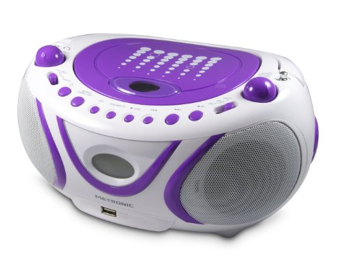 Metronic 477112 MP3-Radio Boombox CD Player USB Lila (Wiederholen Cd-player)