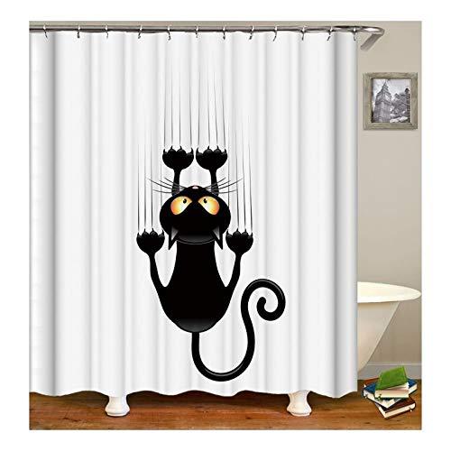 Adisaer Cortina de baño Decoración de baño Negro Gato 120X180 Impermeable con Ganchos Blancos