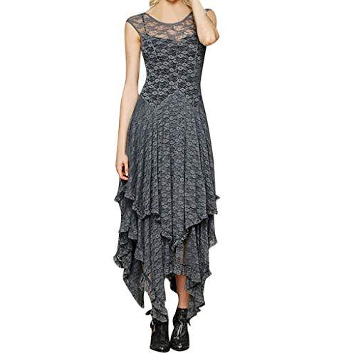 Damen Kleid Festliche Kleider Brautjungfer Hochzeit Faltenrock Langes Abendkleid Piebo Elegant Kleid aus Spitzen Damen Ärmellos Unregelmässig Cocktailkleider Party Ballkleid Rückenfrei Sommerkleid -