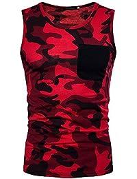 79175e520fd12 Chalecos para Hombre Camuflaje Bolsillo Moda Impreso Deportes Sin Camiseta  Ropa Festiva Mangas Ocio Musculoso Tank