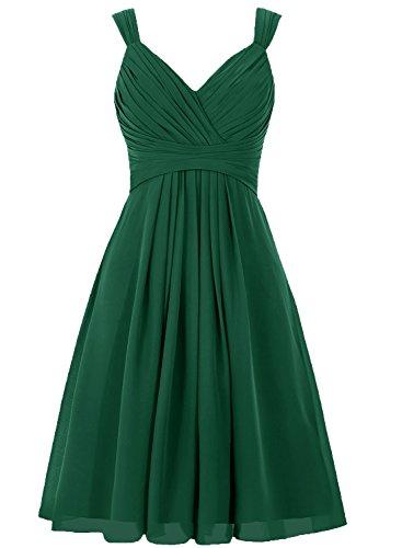 JAEDEN Donna scollo a V Abiti damigella d'onore Corto Chiffon Abito da ballo Vestito da festa Verde scuro