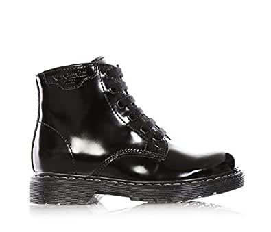 Nero giardini scarpa anfibio stivale nero stringato in pelle lucida unisex bambino bambina - Nero giardini black friday ...
