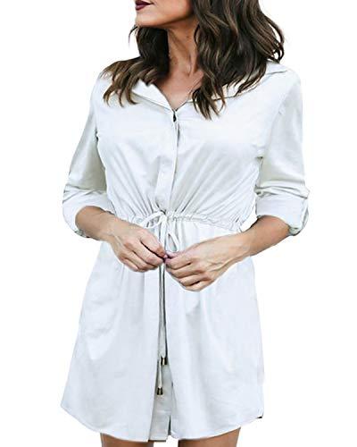 Auxo Damen Bluse V-Ausschnitt Langarmshirt Lose Tops Oversize Longshirts Hemdkleid Beige EU 44/Etikettgröße XL