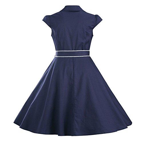 Cliont Retro Kleider Damen Knielang 1950er Rockabilly Faltenrock elegante Kleider damen Abendkleider Partykleider Cocktailkleider mit Gürtel Tiefes Blau