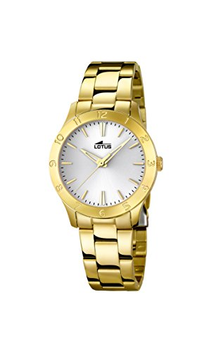 Lotus Women's Quartz Watch with Silver Dial Analogue Display and Stainless Steel Gold Plated Bracelet 18140/1