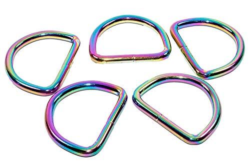 Regenbogen D-Ringe 5 Stück 20mm Halbrundringe