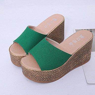 LvYuan Da donna-Sandali-Formale Casual-Comoda Con cinghia-Piatto-Tessuto-Nero Verde Rosso Beige beige