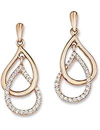 Amor Damen-Ohrhänger 3 cm Tropfen 925 Silber rosévergoldet Zirkonia weiß