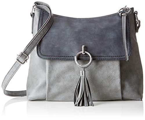 s.Oliver (Bags Damen Shoulder Bag Schultertasche, Grau (Slate Grey), 8x24x31 cm - Zwei-ton-quaste