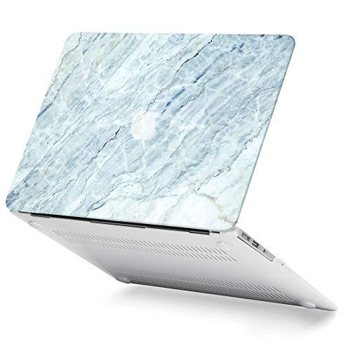 GMYLE MacBook Air 13 Hülle - Hochwertige Matt Gummierte Hartschale Tasche Schutzhülle Snap Case für Apple MacBook Air 13.3 Zoll (A1466 / A1369), EIS Hellblau Marmor Stein -