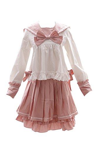 JL-601 rosa weiß Schuluniform Miku Vocaloid Sailor Lolita Bluse Panty-Rock Set Kostüm Cosplay (EUR Gr. (Kostüme Rock Goth)