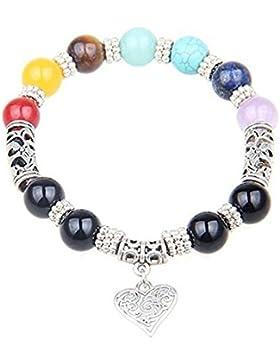 UEUC 7 Chakra Healing Balance Stein Perlen Armband Yoga Reiki Charm Herz Armbänder