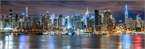 Posterlounge Alubild 120 x 40 cm: New York City - Skyline Panorama von Sascha Kilmer