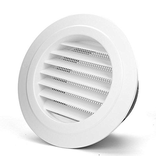 Hon&Guan Ronda Rejilla de Ventilación ABS con Protección Contra Insectos , Respiraderos de Láminas para Baño Habitación Oficina (ø100mm)