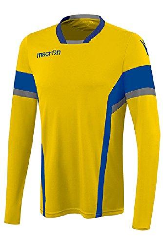 T-Shirt Sportiva Manicha Lunga Maglia da Calcio Calcetto Macron Strength Shirt Giallo/Azzurro