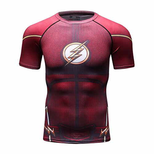 cody-lundin-homme-t-shirts-fashion-superheros-sport-fitness-strong-mens-chemise-flash-rouge-m