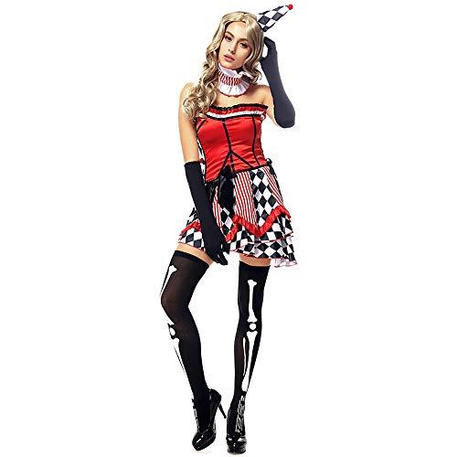 Clown Kostüm Weiblich - Shishiboss Erwachsene Halloween-Kostüme, weibliche Rollenspiel-Kostüme, Clown Tube Top-Kleid mit Hut/Nackenring/Handschuhen für Halloween-Partys/Adult Cosplay/Themenpartys