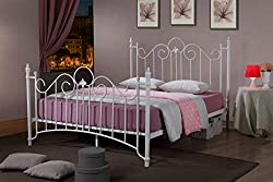 ROYALE COMFORT Virginia Double Metal Bed Frame White Victorian Style King Size Classic Bedstead (4FT6 Double)