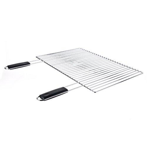 Sunday grill- griglia cromata confort per barbecue in muratura con manici neri 67x40