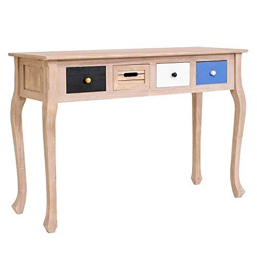 Rebecca Mobili RE4141 Console de Bureau avec 4 tiroirs, Bois de Paulownia, Marron/Blanc/Noir/Bleu Shabby Vintage