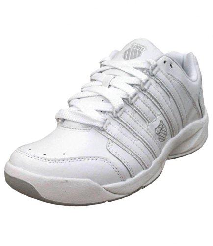 K-Swiss - Damen Astound Carpet Leder Tennis Turnschuhe Weiß Weiß / Silber