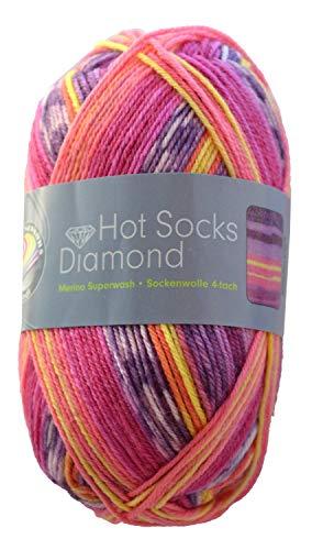 Doppelpack 2 x 50 gr. Gründl Hot Socks Diamond Farbe 06 Sockenwolle mit Merino / Merinowolle -