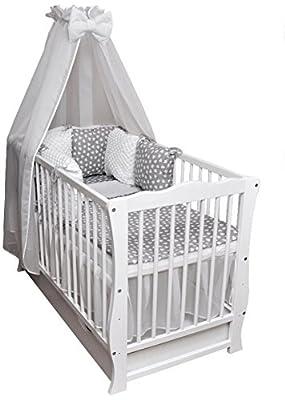 Baby Cama Cuna Junior cama 120x 60Julia Juego de cama color Blanco Minky Completo Colchón cajón techo Cojín