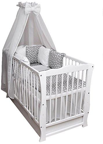 Babybett Kinderbett Juniorbett 120x60 Julia weiß Bettset Minky komplett Matratze Schublade Decke Kissen