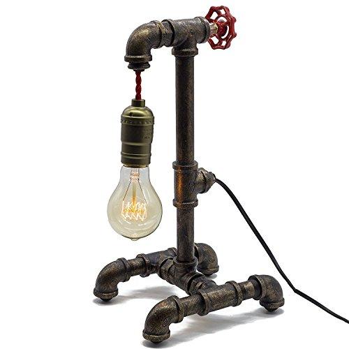 Lumière De Bureau De Tableau De Tuyau D'eau De Style Vintage Industriel De Steampunk Avec La Lampe De Table/Bureau/Lampe De Chevet Rétro De Gradateur