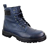 TruClothing.com Mens Ankle Boots Military Army Laced Zip Casual Combat Vintage Classic Leather - navy04 7