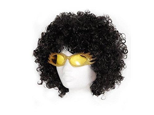 70er Jahre Perücke Party Bekleidung Disco Outfit Verkleidung 70er-Brille Kostüm Karneval Fasching Afroperücke HIPPIE Brille KV-14