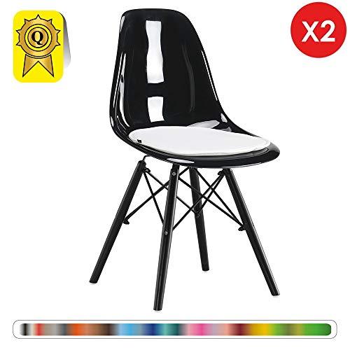 Decopresto 2 x Chaise Design Scandinave Translucide Black Pieds Bois Noir DP-DSWB-TN-2