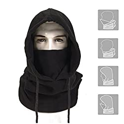 A forest Thermal Balaclava Face Mask Outdoor Sports Mask Hood Hat, Black