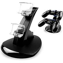 MyGadget PS4 Estación de carga para 2x ControlSonyPlayStation 4Dualshock- LED DualDockingstationde Cargado y Soporte de mandos estándar - Negro