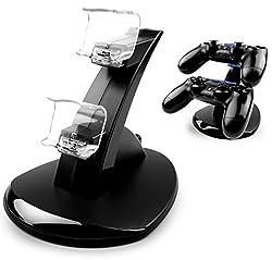 MyGadget Playstation 4 Ladestation Halterung für 2X Sony PS4 Dualshock Controller Ständer Dockingstation Ladegerät Zubehör Aufladestation in Schwarz