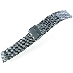 JRRS7777 24mm Stainless Steel Watch Mesh Bracelet New Wristband 0.8mm Wire Titanium Brushed Satin