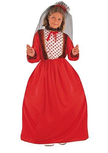 Blumen Paolo-Spanische Tänzerin Kostüm Mädchen M (5-7 anni) rot