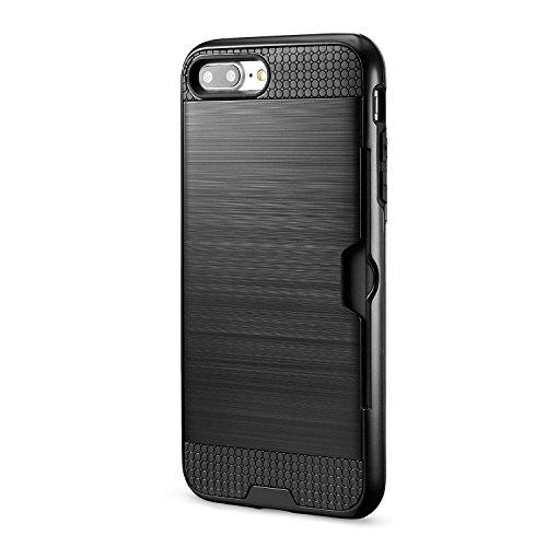iPhone 7 Plus Cover technext020 Paraurti duro, Slim carta di credito coperchio Argento Nero