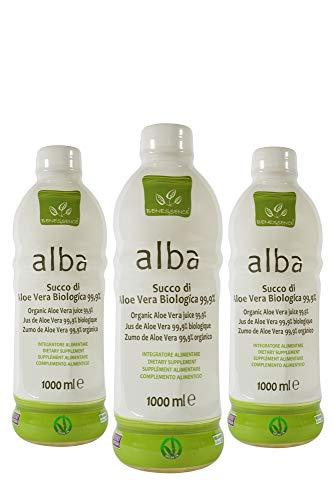 Alba - Succo da bere di Aloe Vera Biologica 99,9% - OFFERTA 3 bottiglie da 1L