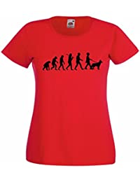Evolution of a Dog Walker (German Shepherd) Ladies Red T-Shirt with Black Print